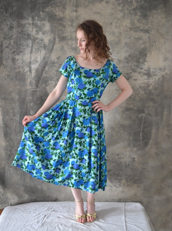 1950s Blue Rose Watercolor Dress