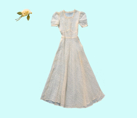 1940s Sheer White Georgette Dress Size XS