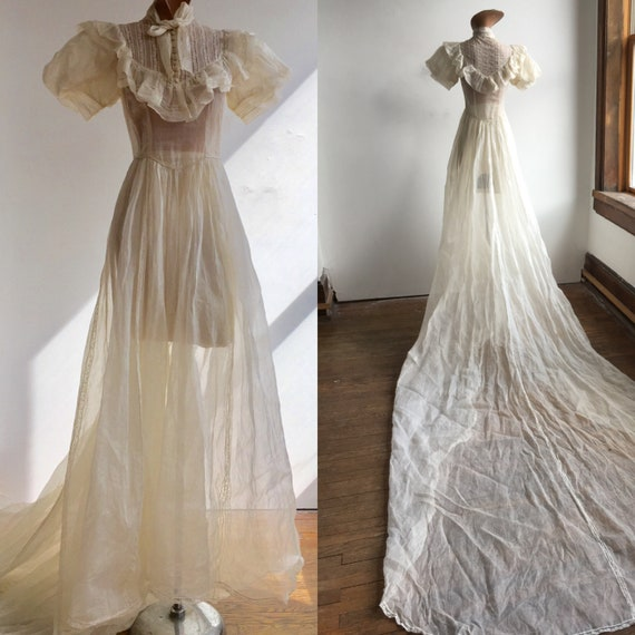 1930s Sheer Cotton Organza Wedding Gown with Looon