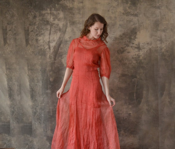 ON HOLD For Cecilia 1930s Red Linen Dress size XS