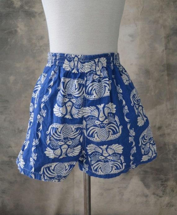 1950s Vintage Childs Blue Tropical Swim Trunks