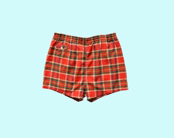 1960s Red Plaid Swim Trunks size L