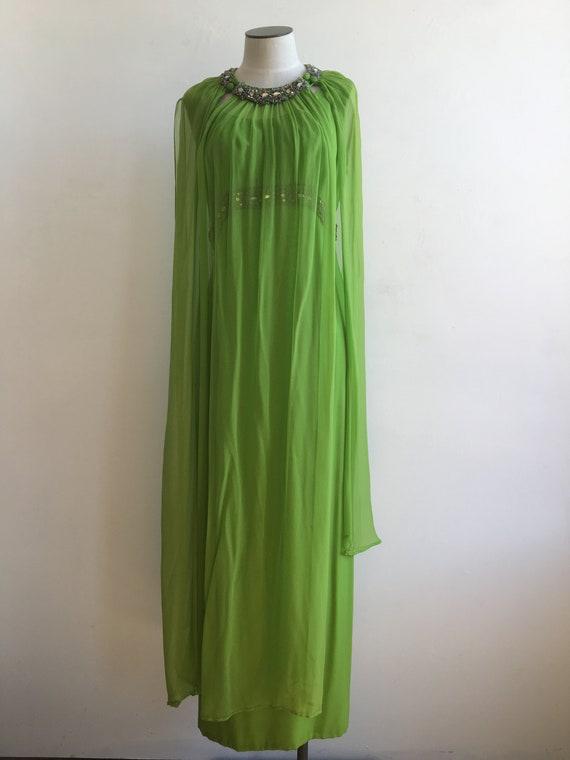 60s Rhinestone Green Silk Chiffon Dress with Over