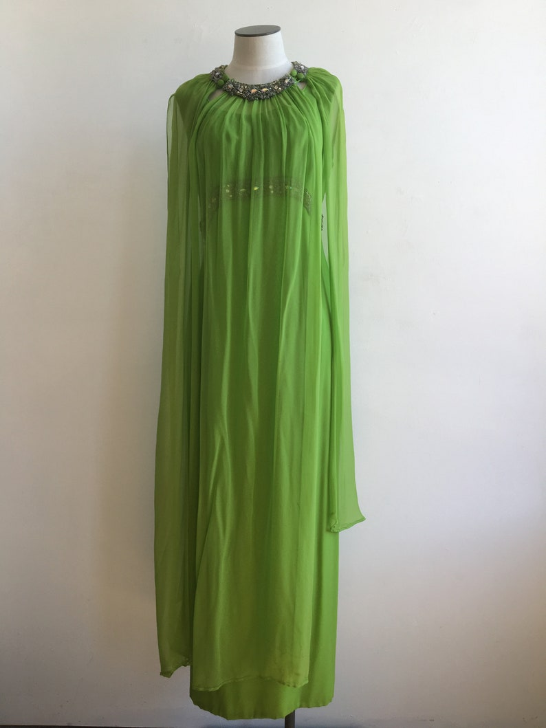 60s Rhinestone Green Silk Chiffon Dress with Over mantle