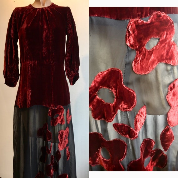 1930s Burgundy and Black Silk Velvet Gown w Floral