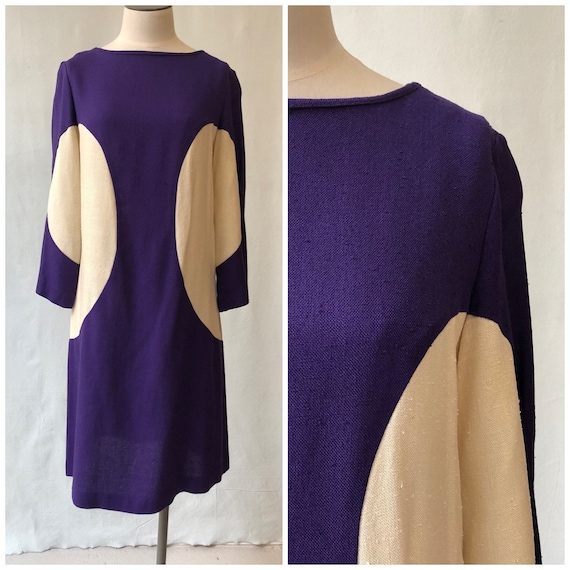 1960's Deep Purple Mod Linen Dress