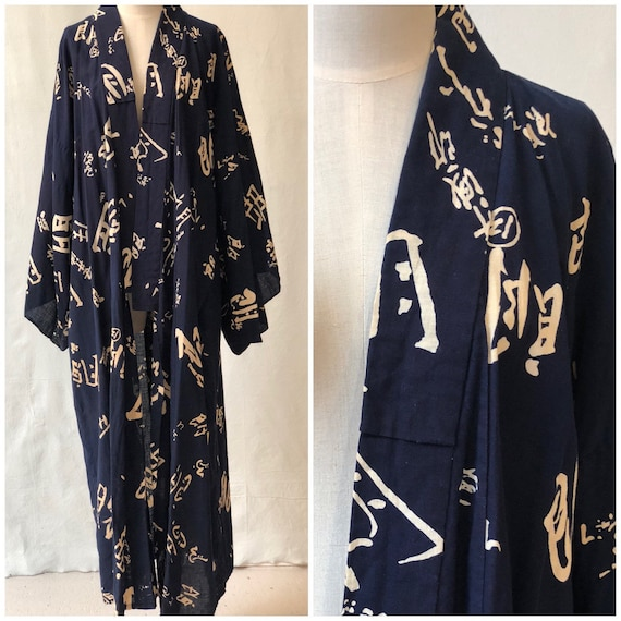 1940's Indigo Blue Japonisme Kimono