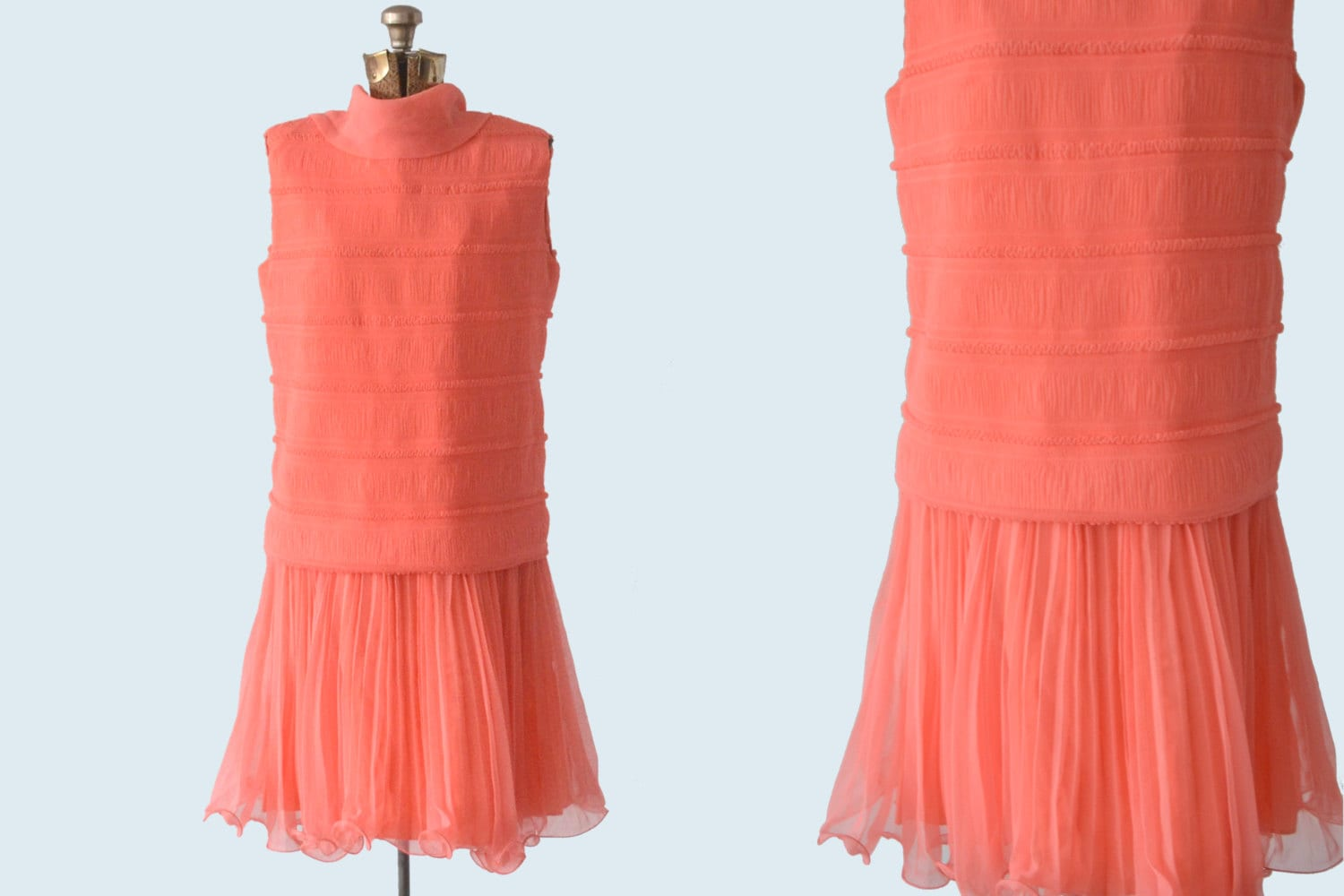1950s Does 1920s Coral Pink Drop Waist Flapper Dress Etsy