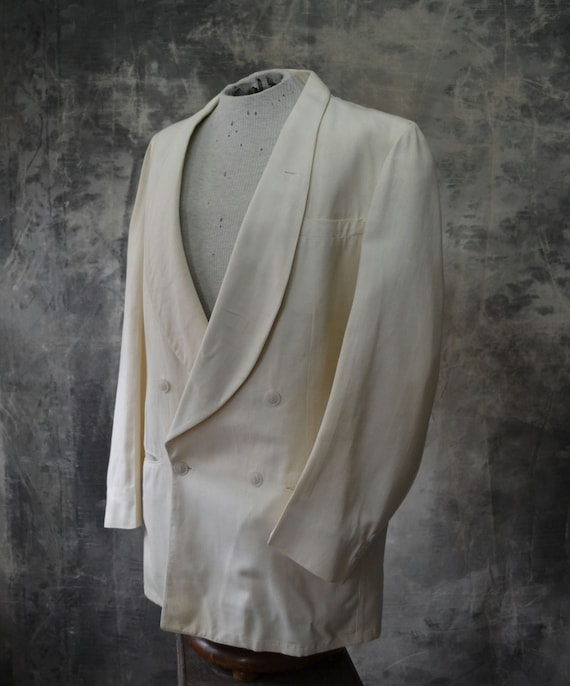 1940s Palm Beach White Cotton Blazer