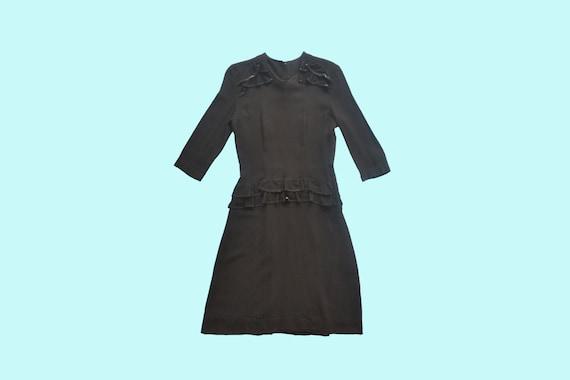 1940s Black Rayon Dress size Small - image 4