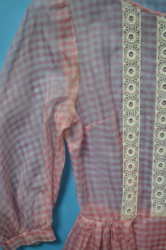 1950s Sheer Pink Gingham Organza Dress size M - image 4