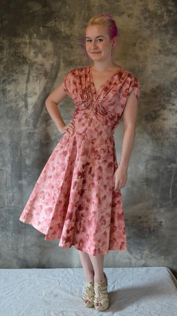 1950's Party Dress Pink Petal Print