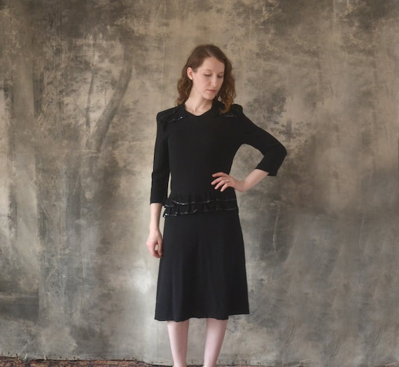 1940s Black Rayon Dress size Small