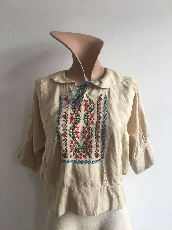 1910s Silk Embroidered Peasant Blouse, size xs - image 2