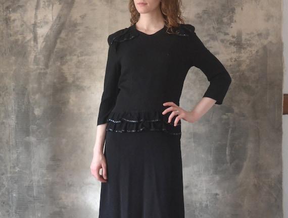 1940s Black Rayon Dress size Small - image 2