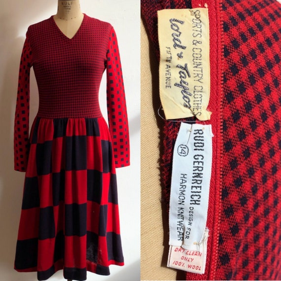 Rudi Gernreich 1960s Wool Dress