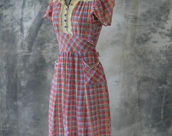 1930s Pink Lemonade Cotton Voile Plaid Dress