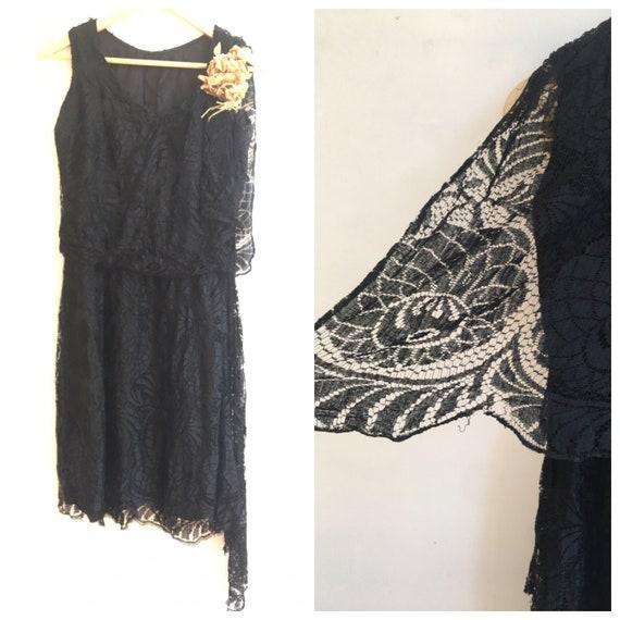 1920s Black Lace Flapper Dress