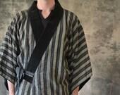 1940s Japanese Indigo Striped Yukata Kimono
