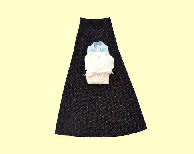 1970s Black Velvet  Maxi Skirt w Red Stars size  xs