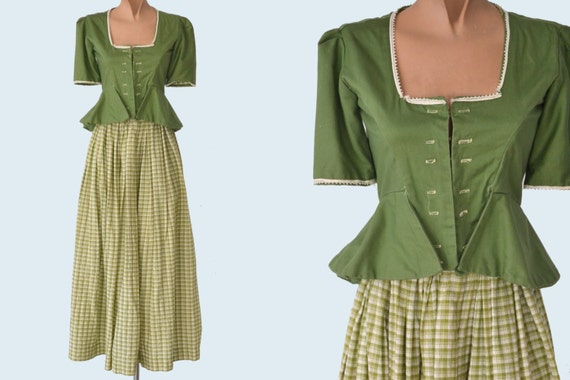 1930s Handmade Landhausmode Dirndl Green Skirt and