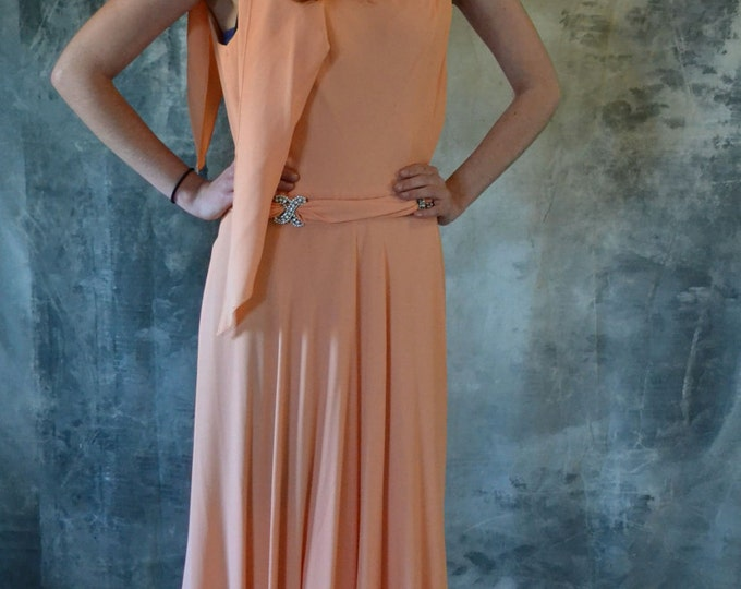 Unusual 1970's Peach Hooded Formal Dress