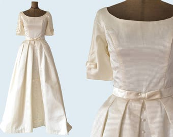 1960's White Satin Wedding Dress