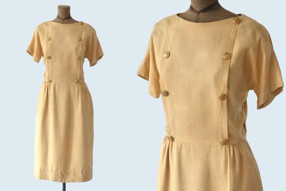 1940s Mr. Mort Gold Button Dress size M