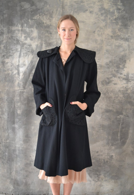 1940s Black Wool Swing Coat