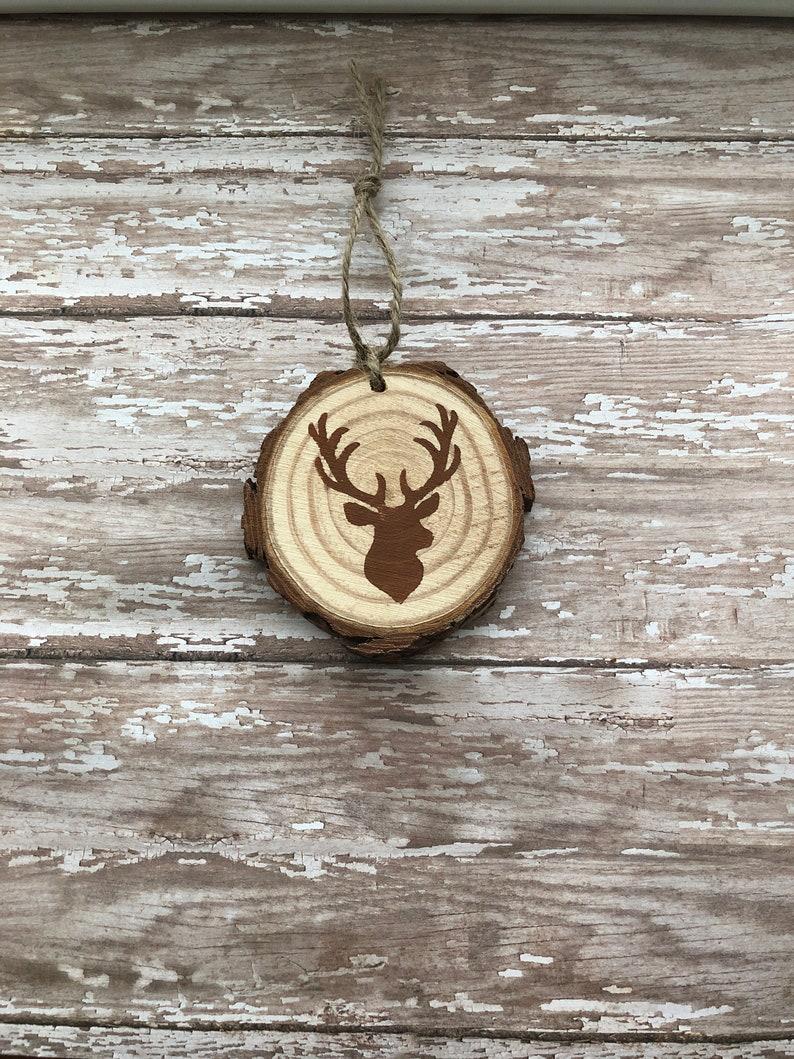 handmade wood slice ornament deer ornament wood ornament image 0