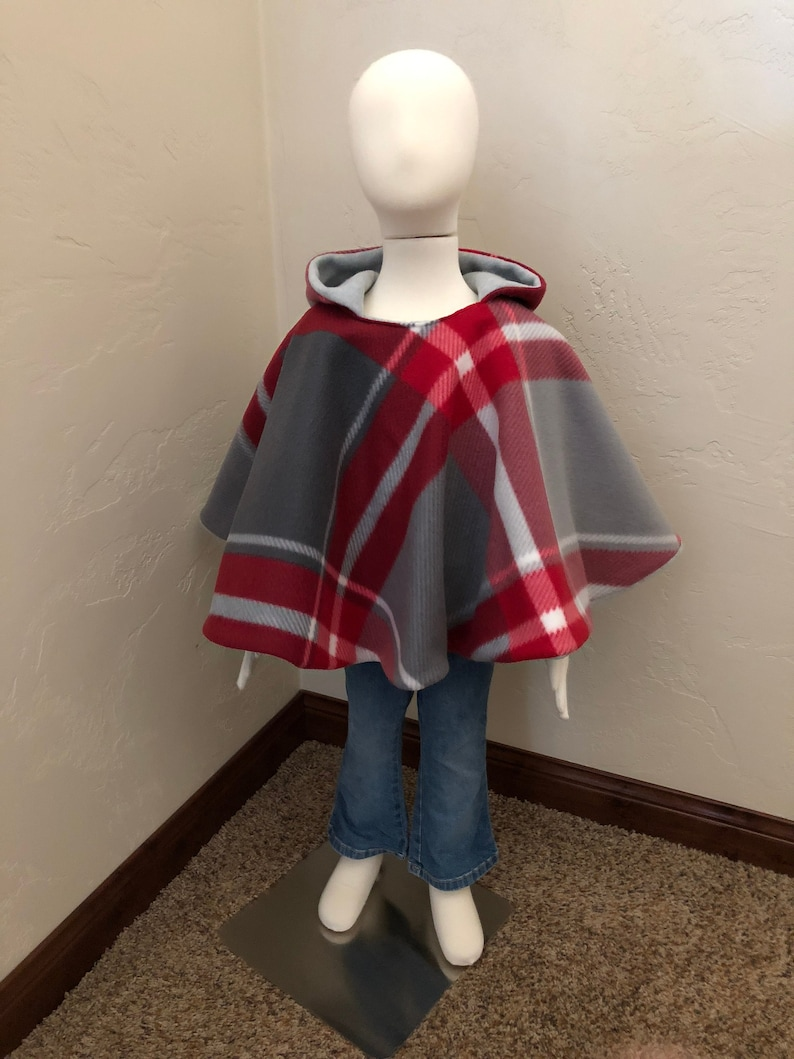 Car seat poncho children's fleece poncho reversible image 0
