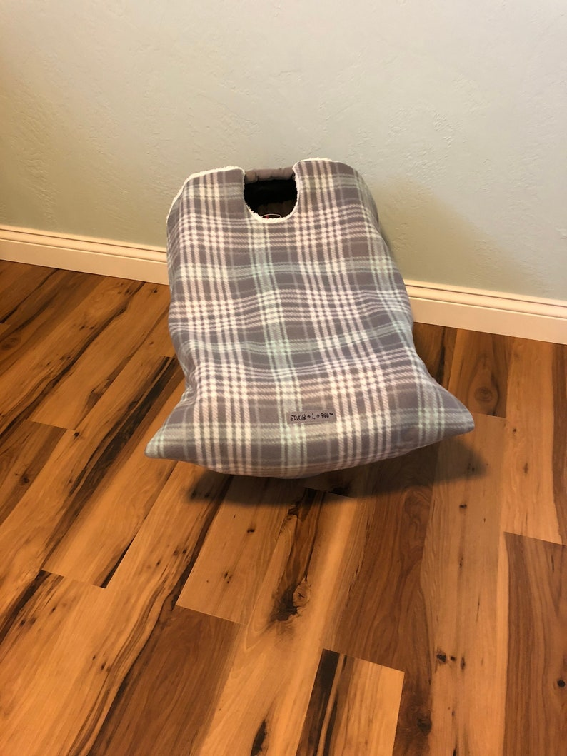 Infant Car Seat Blanket gray plaid fleece car seat cover image 0