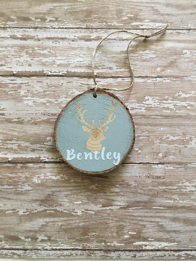 deer personalized name ornament handmade wood slice ornament image 0