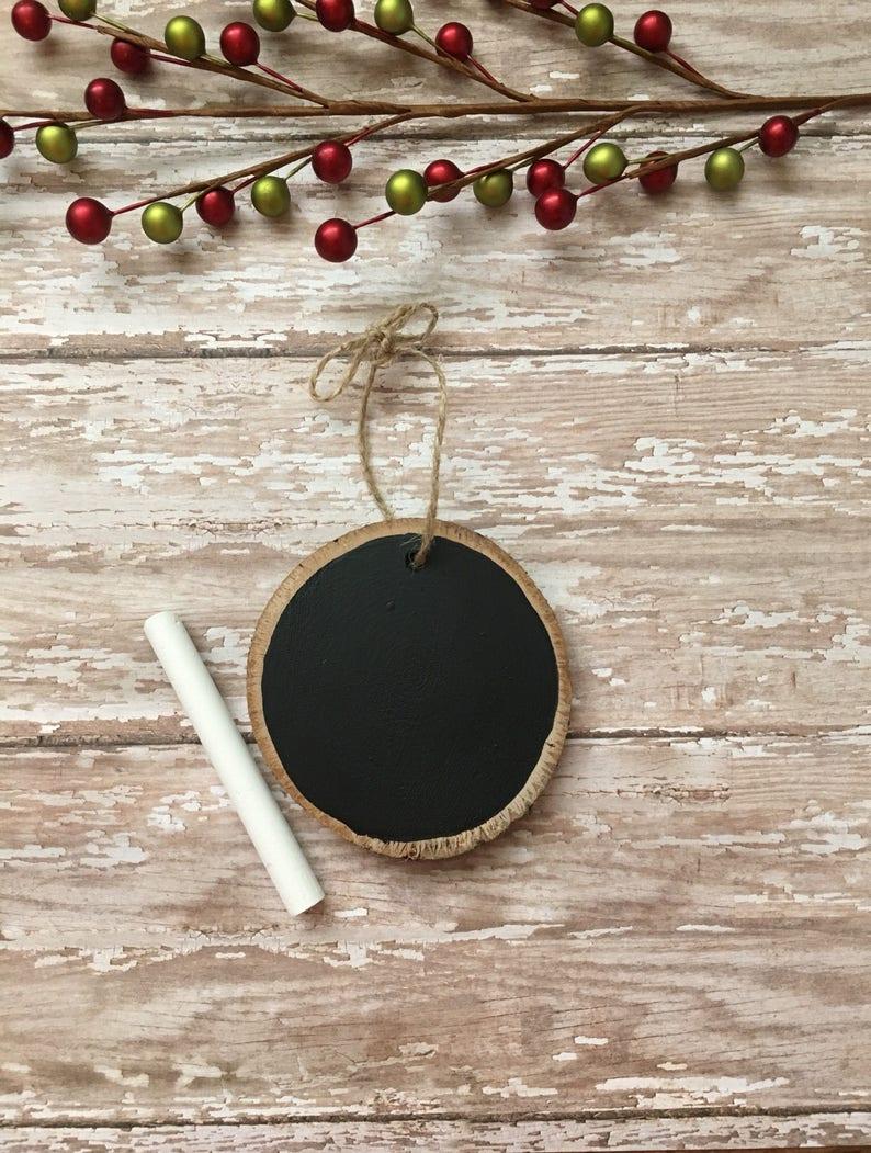 Chalkboard wood slice ornament chalkboard ornament image 0