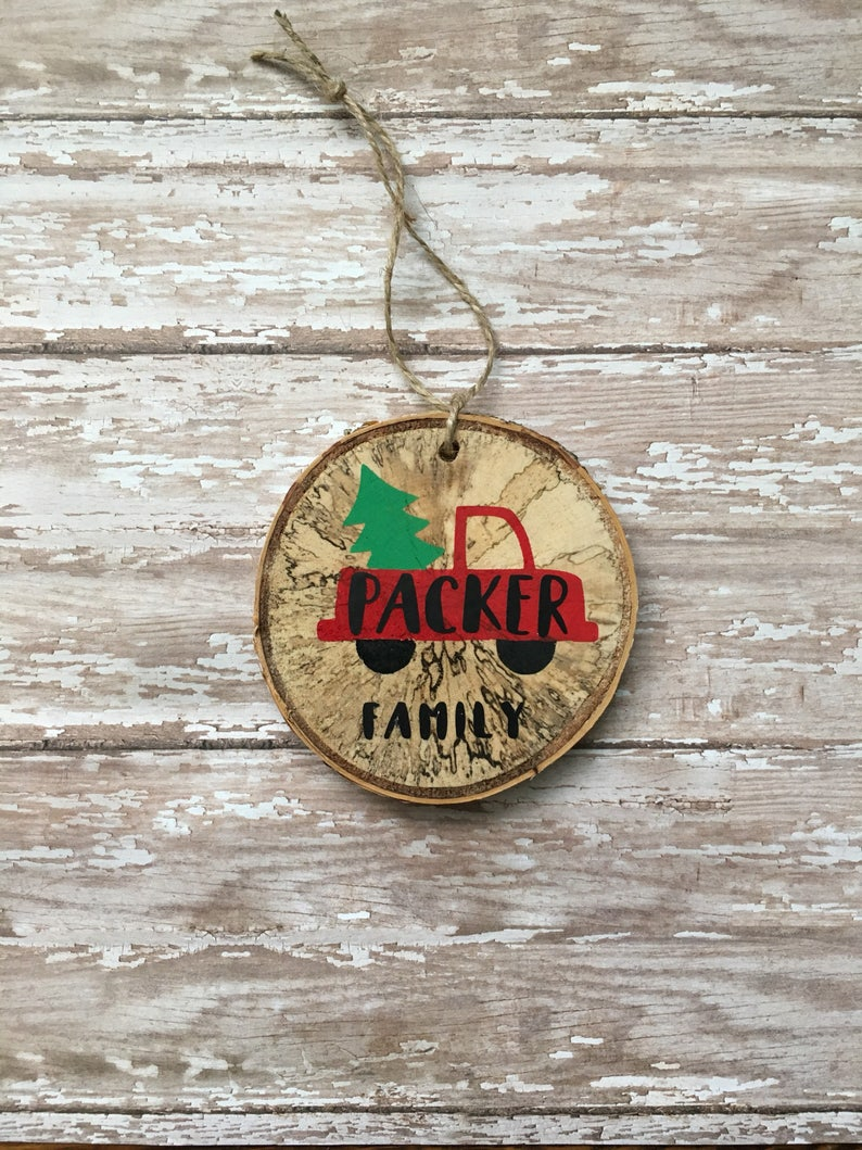 personalized handmade wood slice ornament vintage Christmas image 0