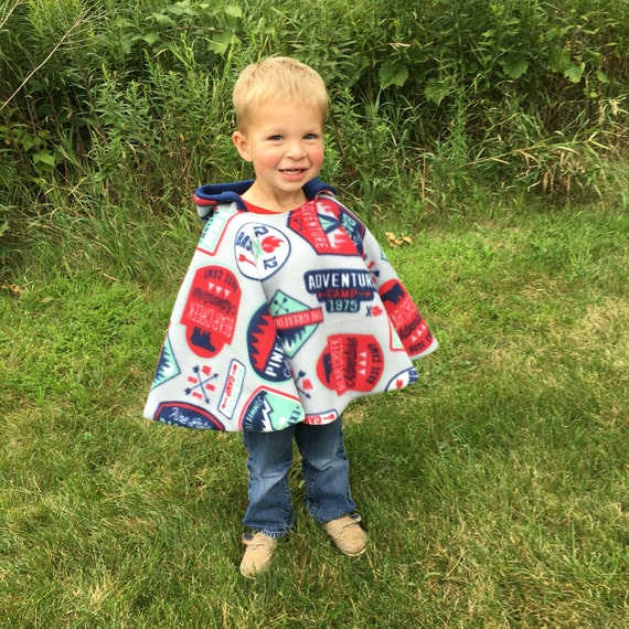 Sports Football Car Seat Poncho fits 6 months to 5 years Hooded and Car Seat Safe to keep Kids Warm It/'s Reversible