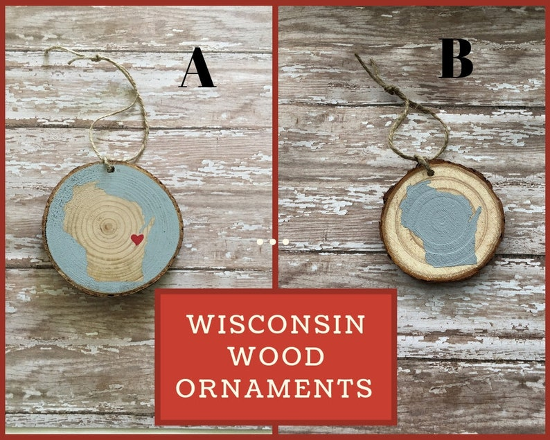 handmade wood slice ornament Wisconsin ornament wood image 0