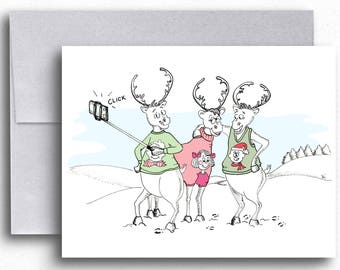Reindeer Cartoon Holiday Fashion Greeting Cards Ugly Christmas Sweater Three Reindeer Funny Cards Christmas Cards Cartoon Cards Xmas Cards