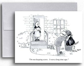 Keeping Score Cartoon Greeting Cards Marriage Humor Household Chores Funny Cartoons Marriage Issues Couple Humor Relationship Humor Cards
