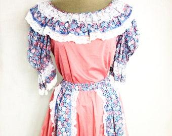 Vintage Pinafore Handmade Dress Skirt Top Set Costume