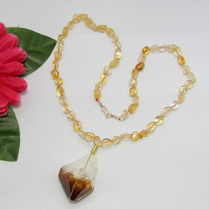 Citrine Necklace,18.5 inch,Citrine Pendant,Citrine beads 925 Silver clasp,sem precious beads Necklace,Necklace fof women