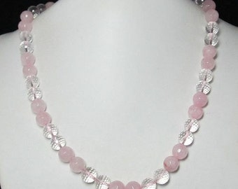 Necklace 20 inch IN Rose Quartz rock crystal Quartz 925 Silver