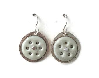 Pierced Enamel and Silver Earrings