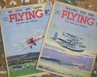 2 Issues of Flying Magazine 1938 edited by WE Johns (Biggles) cover by Howard Leigh