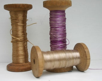 Wooden Spools with coloured silks Vintage Sewing