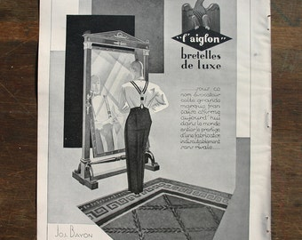 L' Aiglon Braces Advertisement 1929- French Vintage - Men's Accessories - Art Deco