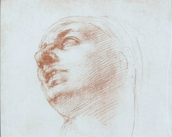 Michelangelo Red Chalk Study of a Woman's head Fratelli Alinari Reproduction 1950s