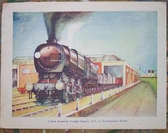 "Vintage Freight Train Illustration-  ""Austerity Engine""  - Goods locomotive - Southampton Docks"