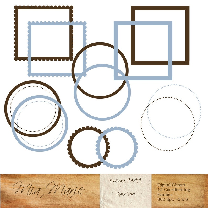 Instant Download Scrapbooking Invitation Frames Round Circle Etsy