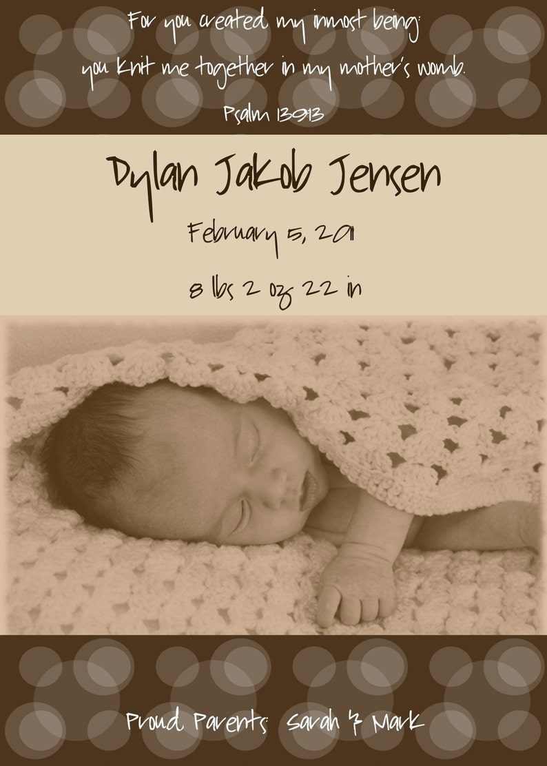 Psalm 139:13 Knit Me Together Modern Photo Birth Announcement